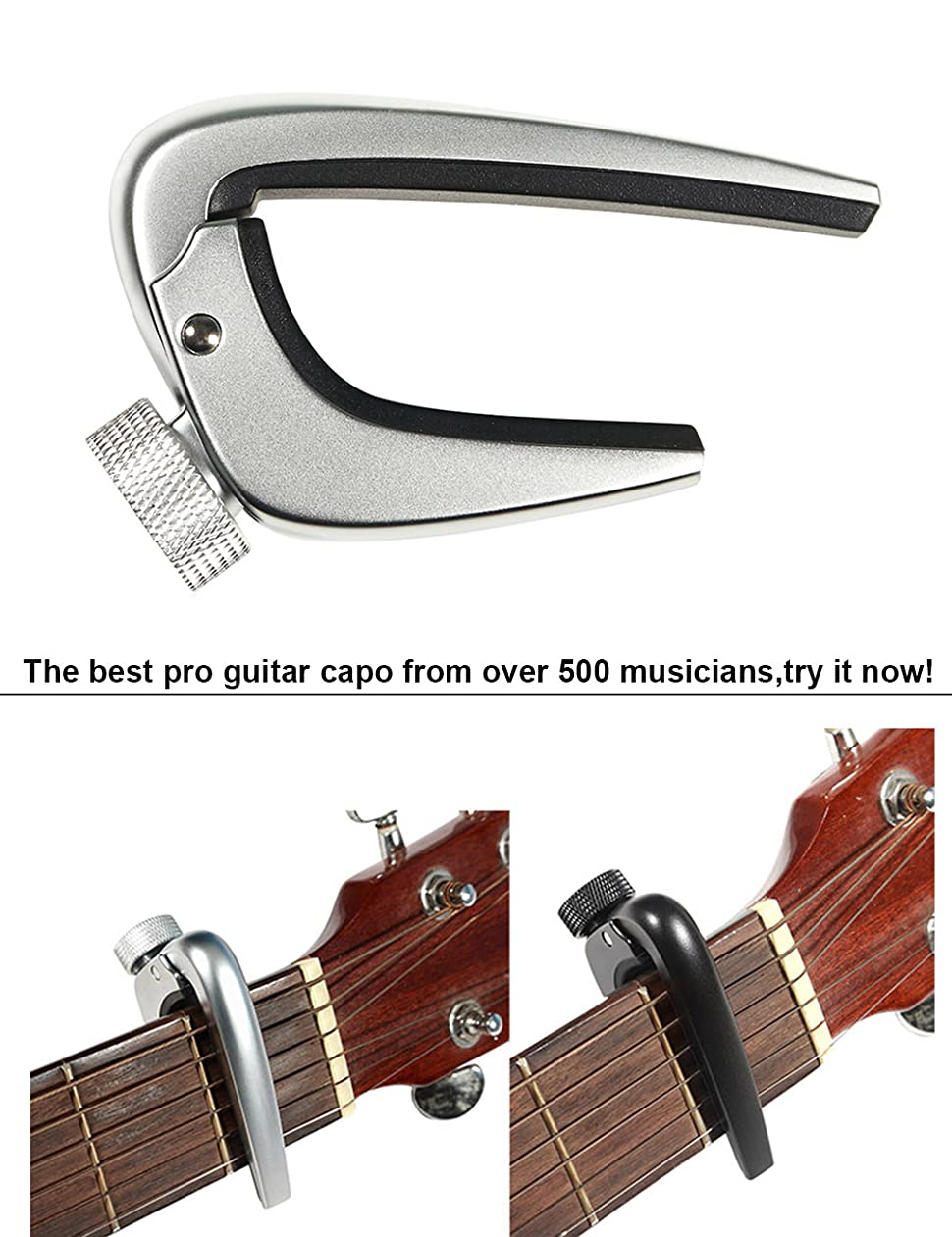wingo pro guitar capo for acoustic electric guitars chrome capotraste musical. Black Bedroom Furniture Sets. Home Design Ideas