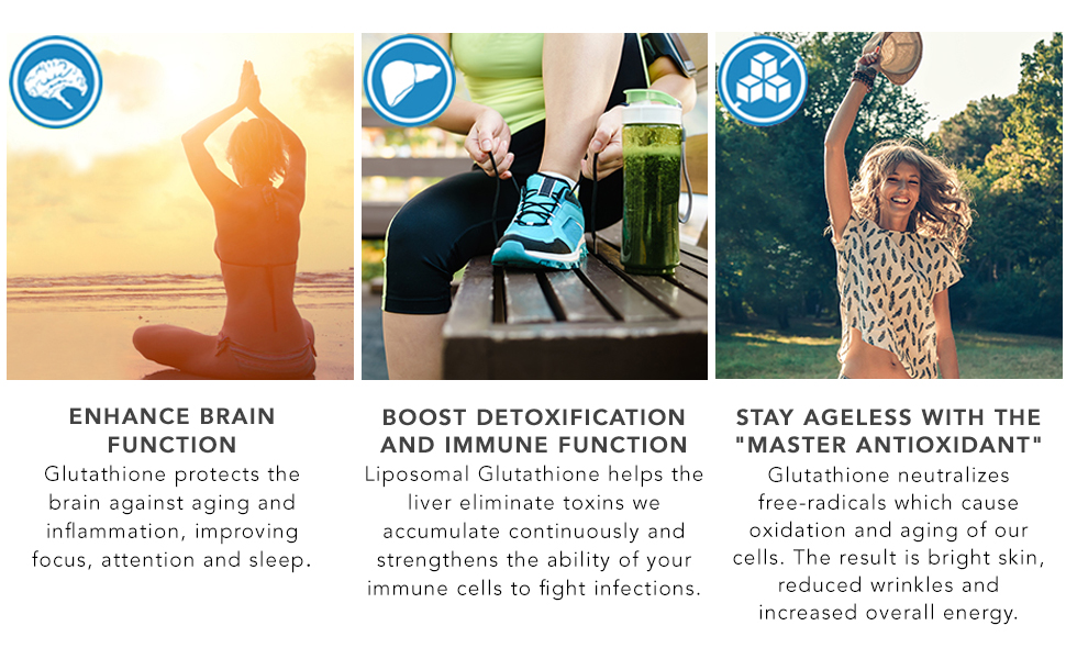 liposomal reduced glutathione immunity booster improve brain function detoxification skin lightening