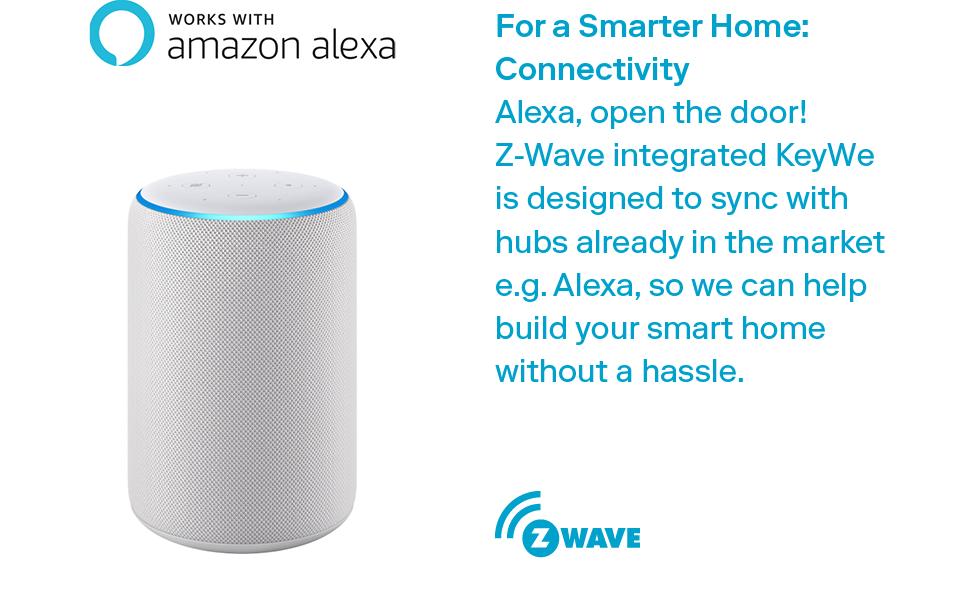 alexa, compatible, connectivity, z-wave, versatile, keywe, door lock, smart