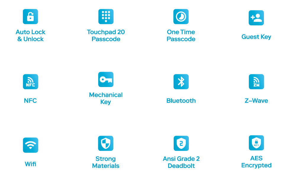 keywe, specs, at a glance, features, z-wave, touchpad, bluetooth, NFC, security, wifi bridge