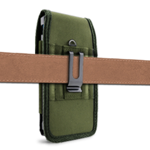 Universal Phone Pouch Case - Metal Belt Clip Vertically - Olive Drab (OD) Green - Evocel Urban Pouch