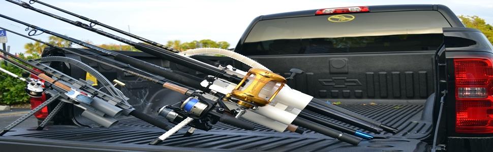 SUV Roof Rack Fishing Rod Transportation System 4 Rod Carrier Car Holder NEW