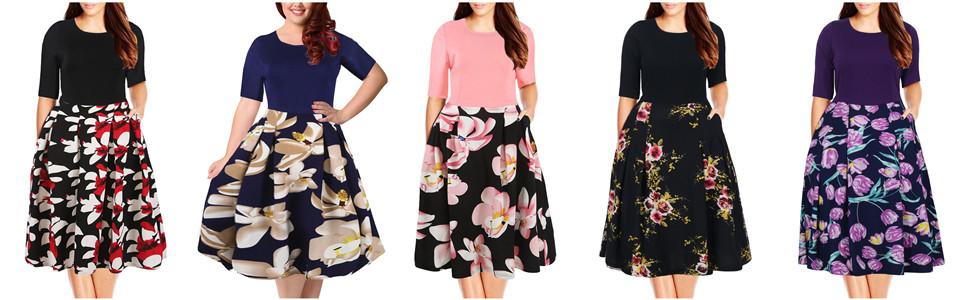 080ae430b46 Nemidor Women s Floral Print Vintage Style Plus Size Swing Casual Party  Dress