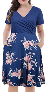 82b7556a898 ... Nemidor Women s V-Neck Print Pattern Casual Work Stretchy Plus Size  Swing Dress with Pocket ...