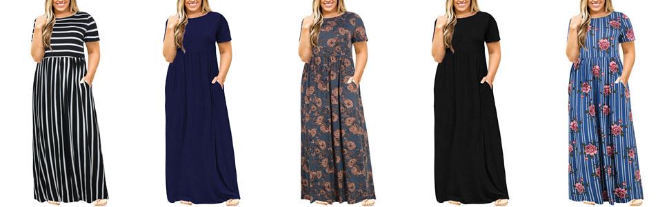 5efb395b0910 Nemidor Women Short Sleeve Loose Plain Casual Plus Size Long Maxi ...