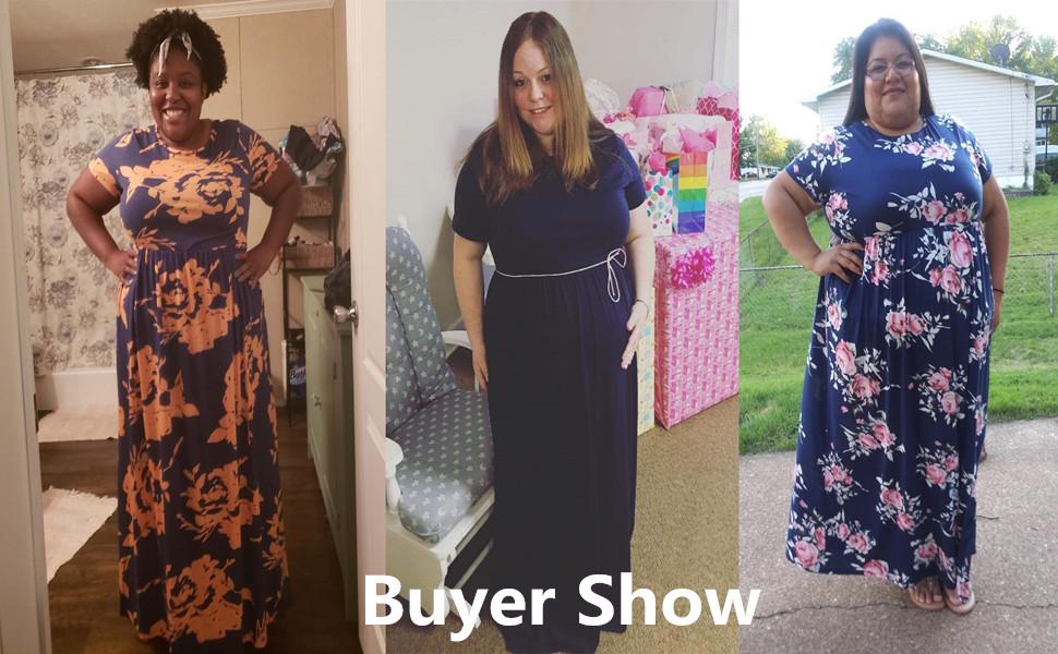 5b3cc81d46cc Nemidor Women Short Sleeve Loose Plain Casual Plus Size Long Maxi Dress  with Pockets
