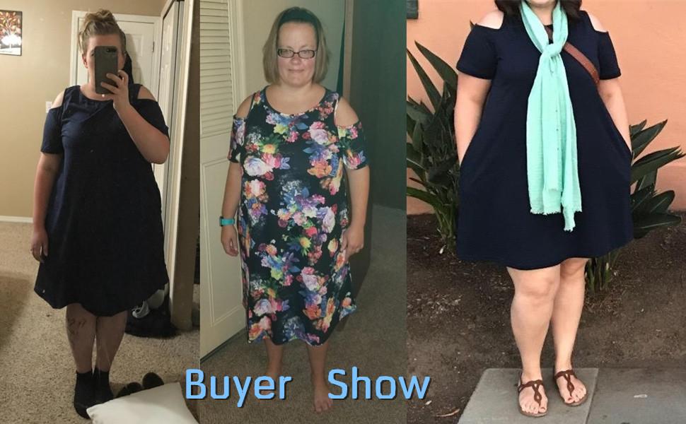 15b4216ca925 Nemidor Women's Cold Shoulder Plus Size Casual T-Shirt Swing Dress with  Pockets