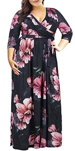 5b3aa28c28 Nemidor Women s 3 4 Sleeve Floral Print Plus Size Casual Party Maxi Dress  ...