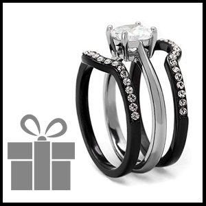 affordable engagement and wedding black rings