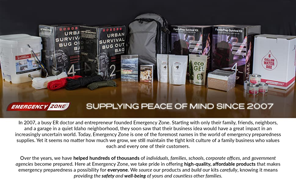 Emergency Zone 2 Person Family Prep 72 Hour Survival Kit/Go-Bag   Perfect  Way to Prepare Your Family   Be Ready for Disasters Like Hurricanes,