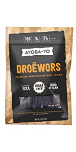 Droewors Beef Sticks that are all natural, grass fed and keto certified, in a bag