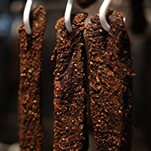 Biltong dried by air, instead of with heat like jerky.
