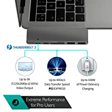 Thunderbolt 3 with up to 5k video output and power delivery up to 100 w