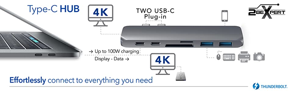 connect all the peripherals you need to your macbook pro through thr 2bexpert hub multi-port adapter