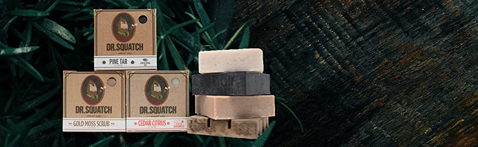 rustic wood planks with plant background, dr. squatch soap bars overlay, stack of soap bars