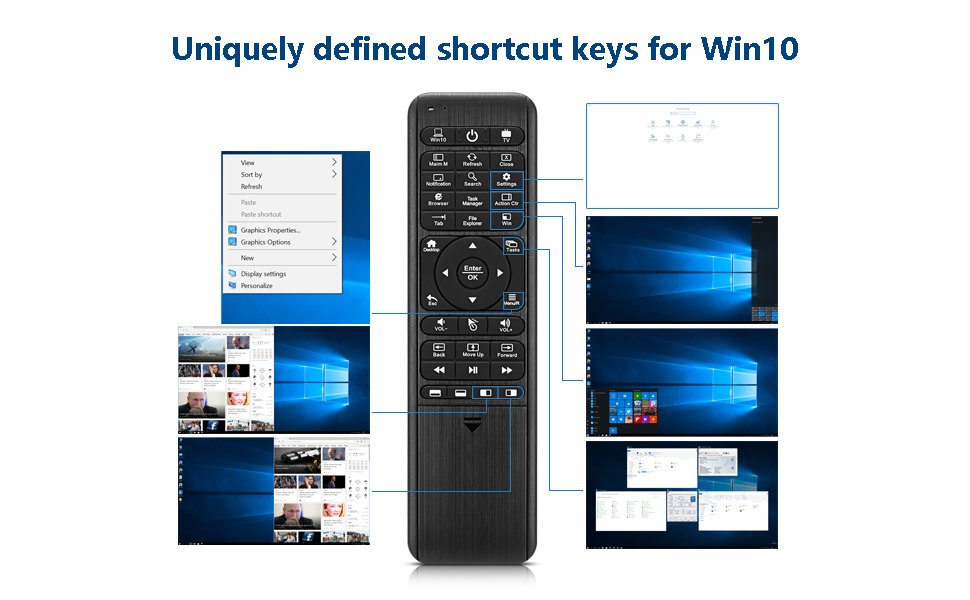 Pepper Jobs W10 GYRO Air TV Remote,QWERTY Keyboard Fly Mouse for Win 10,  LED Backlit Keyboard Mini PC Controller, 6-Axis Gyro w/Learning Remote