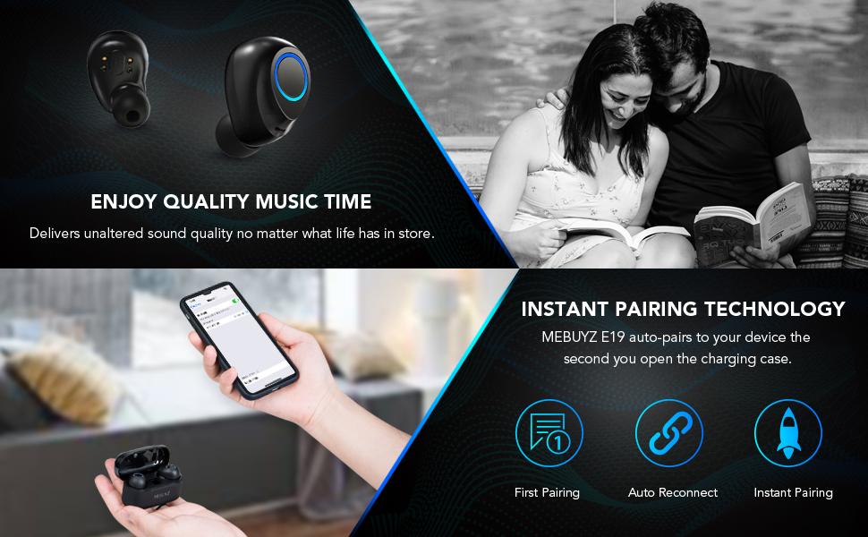 Bluetooth 5.0 Wireless Earbuds TWS Stereo Sound Headphones True Wireless Built-in Mic Earpiece
