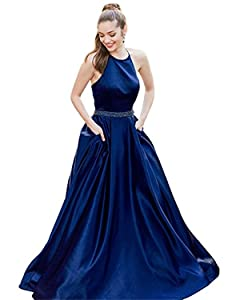 Pettus Womens Halter Satin Prom Dresses Long Beads Sequins Evening Party Gowns
