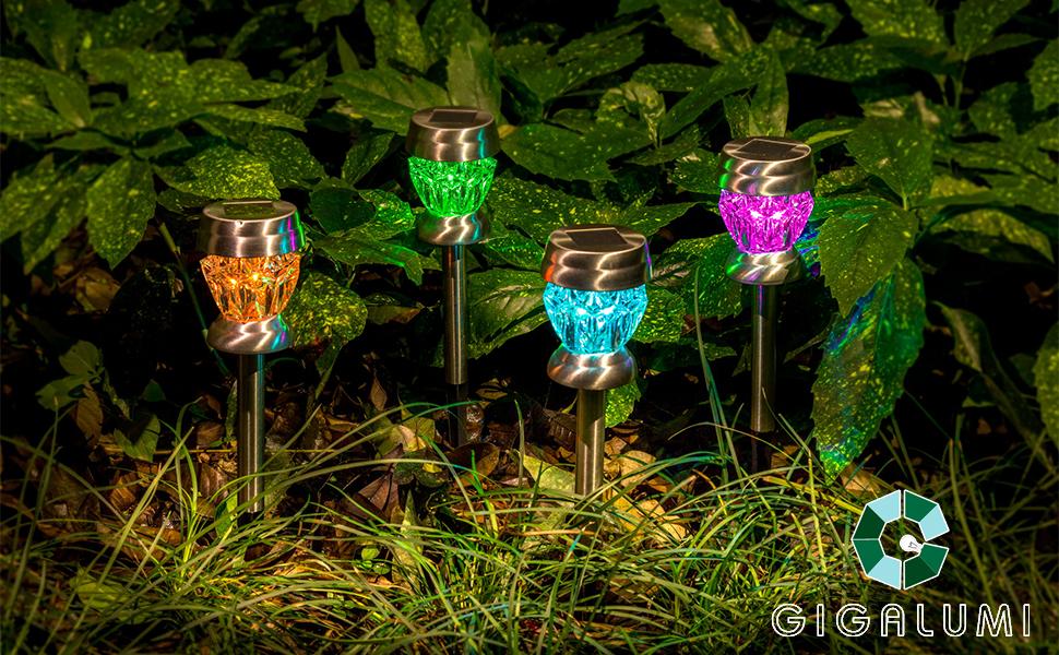 GIGALUMI 6818 Solar Garden Lights, 4 Pack