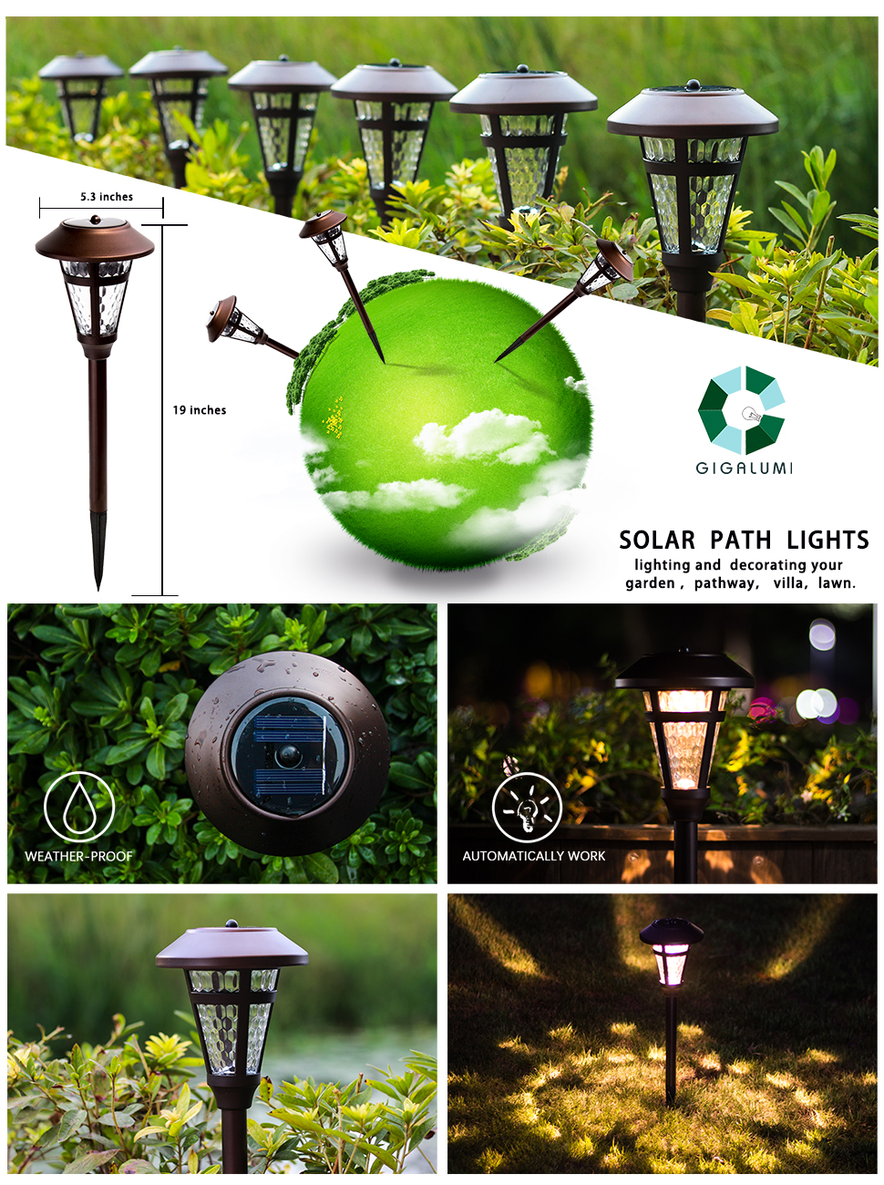 Gigalumi Solar Pathway Lights Outdoor 6 Pack Super Sunny Light Gardensolar Yard Powered Lighting 6850 Landscape