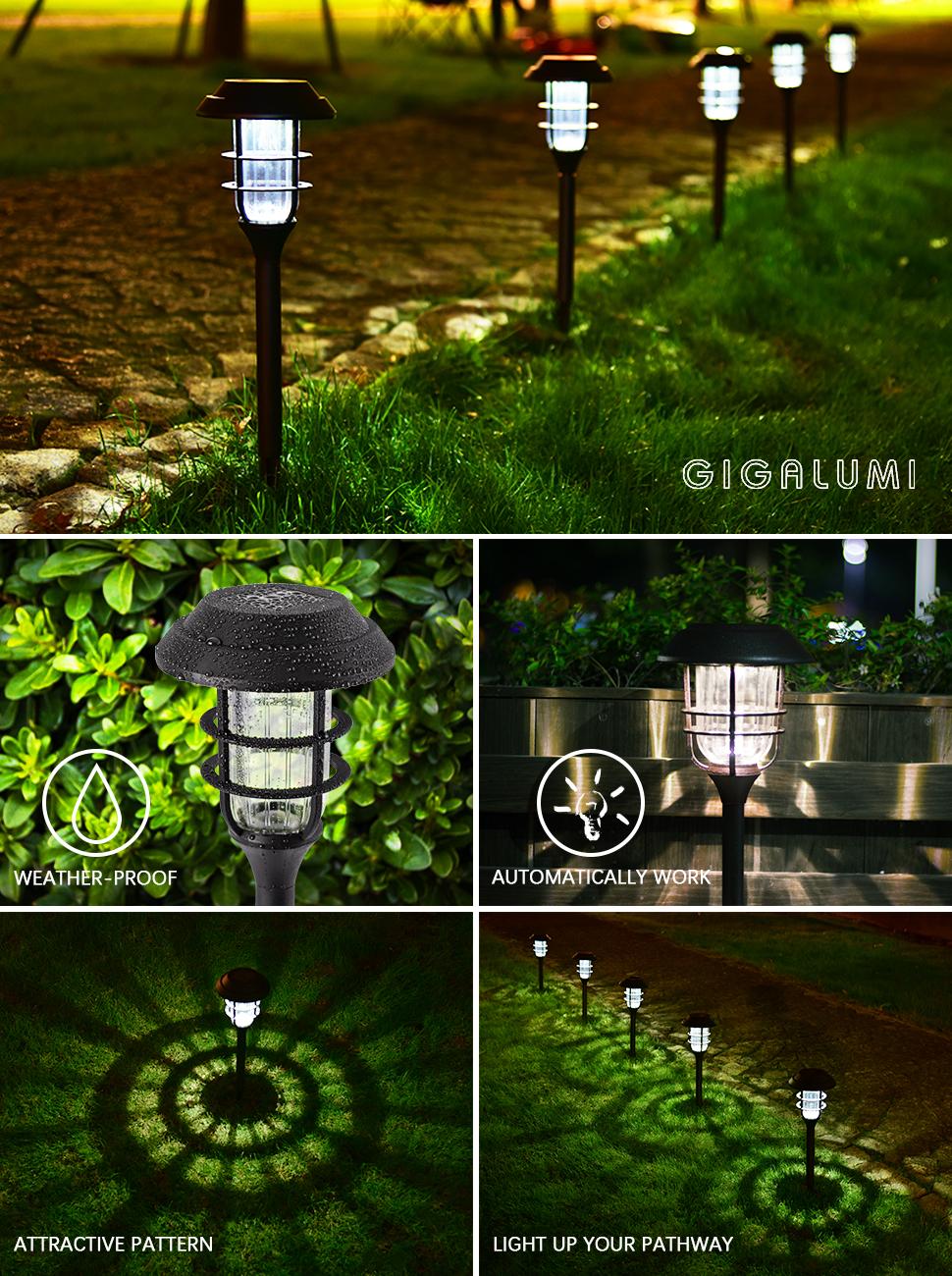 Amazon gigalumi solar pathway lights outdoor waterproof gigalumi 6848 solar garden lights 8 pack arubaitofo Choice Image