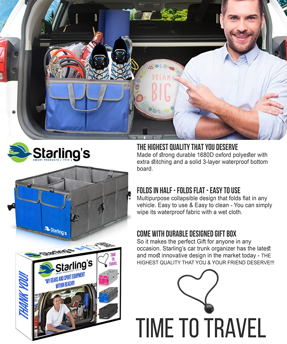 SUV Foldable Storage Box for Auto Nonslip//Waterproof 3 Layers Bottom W//Design Box Truck Car Trunk Organizer by Starling/'s-Blue: Super Strong