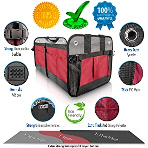 car trunk organizer for SUV grocery tote seat front back automotive truck organizers pickup folding