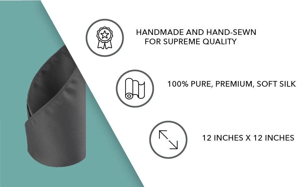 Handmade and hand-sewn supreme quality pure, premium, soft silk 12 inch by 12 inch pocket square
