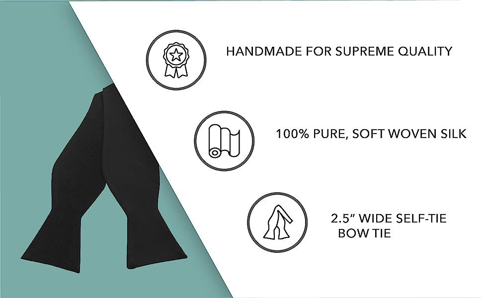 "Handmade 100% pure, soft woven 2.5"" wide self tie silk bow tie"