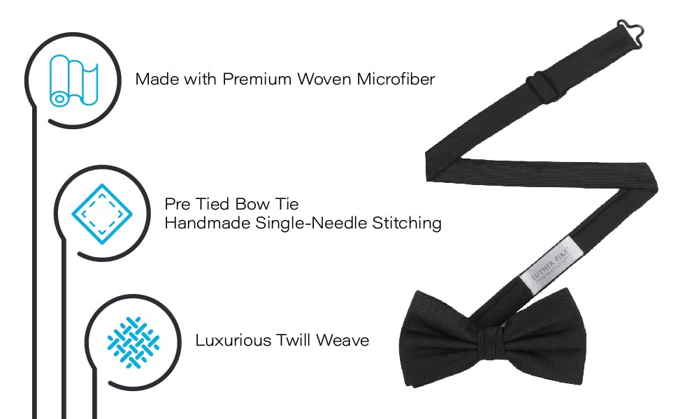 Luxurious Handmade twill weave, Pre-Tied single-needle stitched woven microfiber bow tie