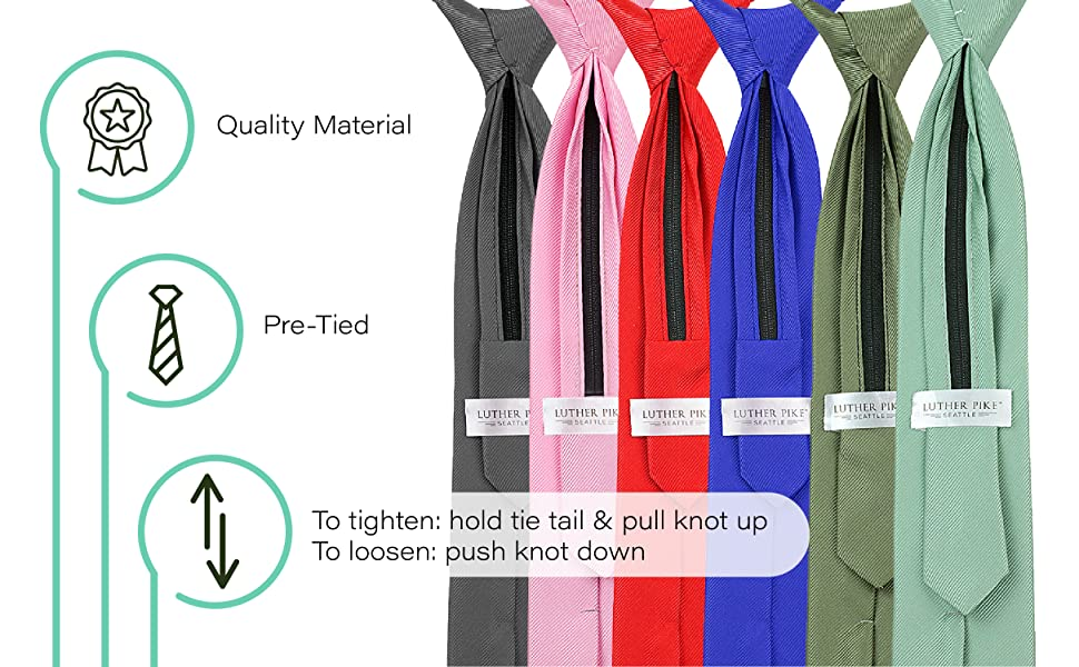 New Kid/'s Boy/'s clip on pre tied Necktie Size 4 to 14 wedding formal party Red