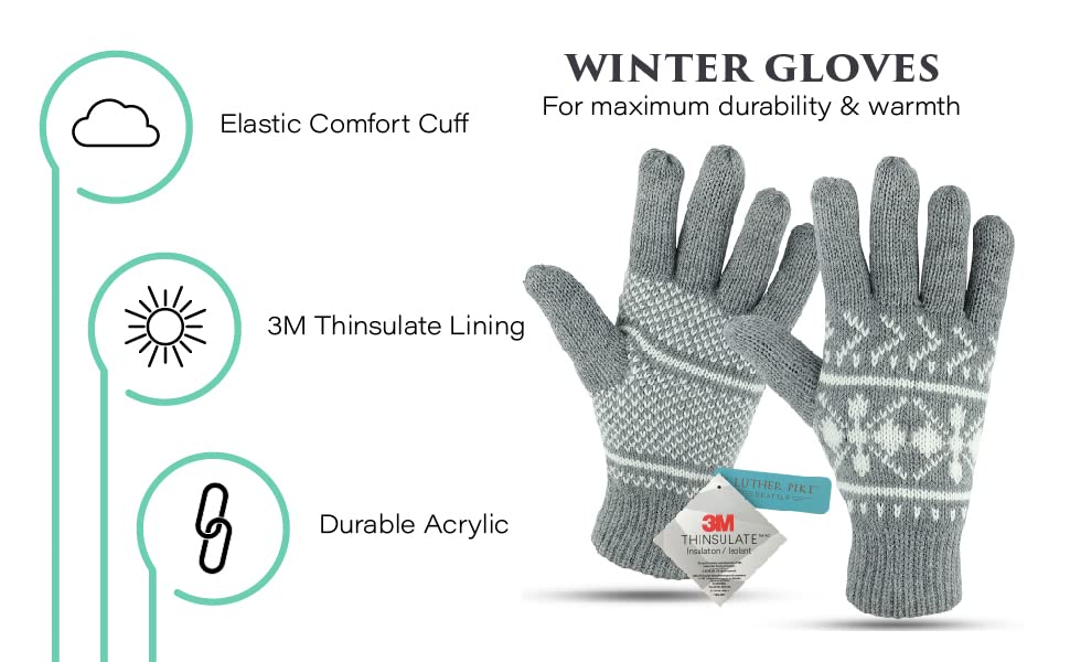 Winter Gloves for Maximum durability & warmth. Elastic Cuff 3m Thinsulate Lining Durable Acrylic