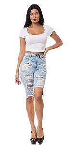 ap blue aphrodite skinny bermuda capri denim jeans high waisted basic mid rise high rise distressed