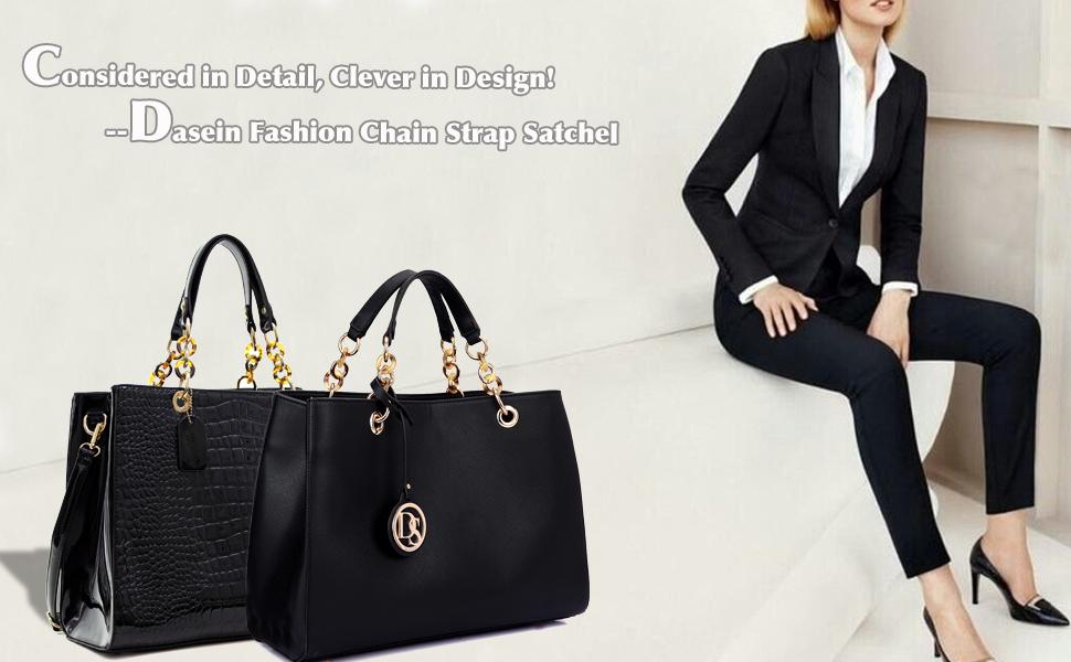 Amazon.com: Dasein Fashion Tote Top Handle Satchel Purse Designer ...