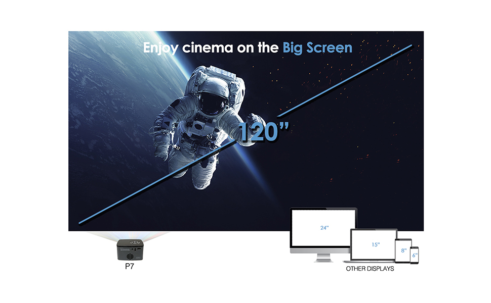 AAXA P7 Mini Projector with Battery, Native 1080P Full HD Resolution, 30,000 Hours LED Portable Projector, Onboard Media Player, for Business and Home ...