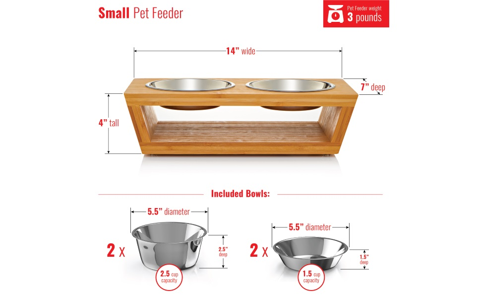 elevated dog and cat pet feeder, dog bowls, cat bowls, comes with four stainless steel dog cat bowls