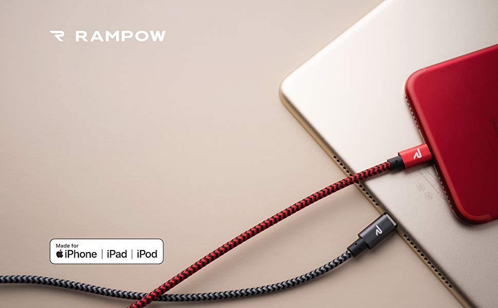 Rampow iPhone Charger Cable 6.5ft [Apple MFi Certified] Lightning to USB A Cable- Heavy Duty iPhone Charging Cord Compatible iPhone XS Max XR X 8 Plus ...