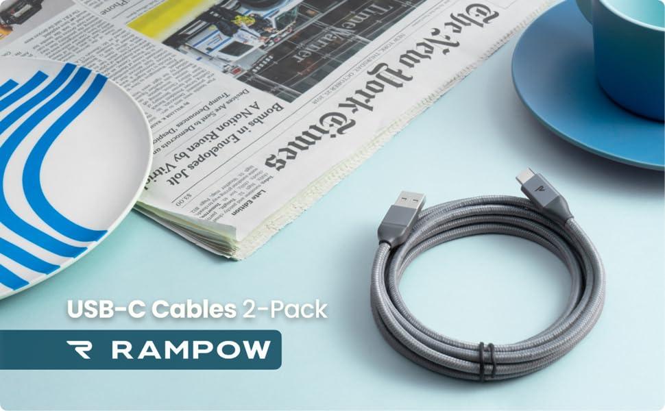 Amazon.com: RAMPOW USB-C Cable 6.6ft 6.6ft Negro cable de ...