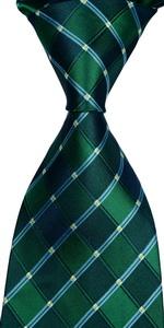 check tie dark green