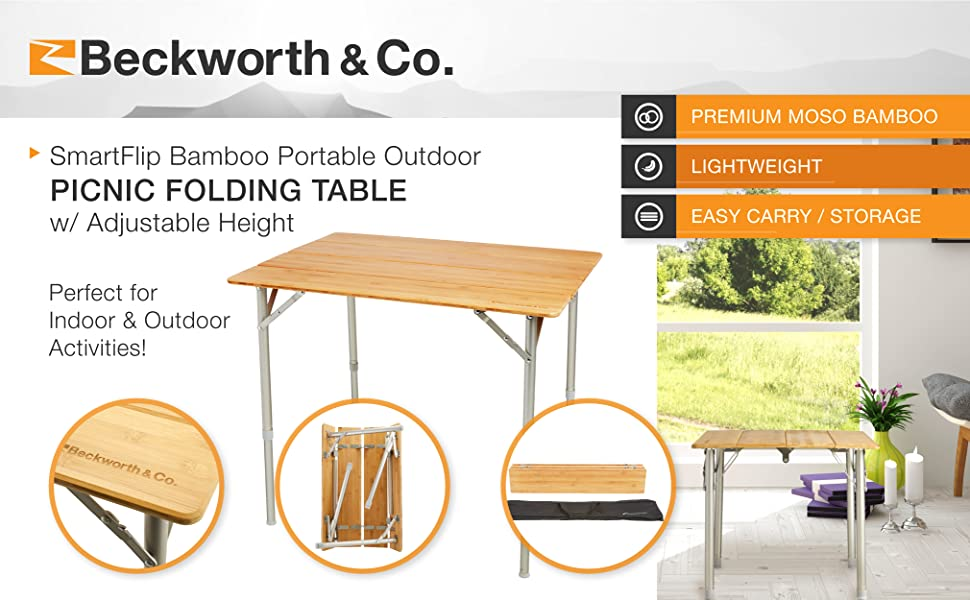 bamboo portable outdoor picnic camping folding foldable table adjustable height