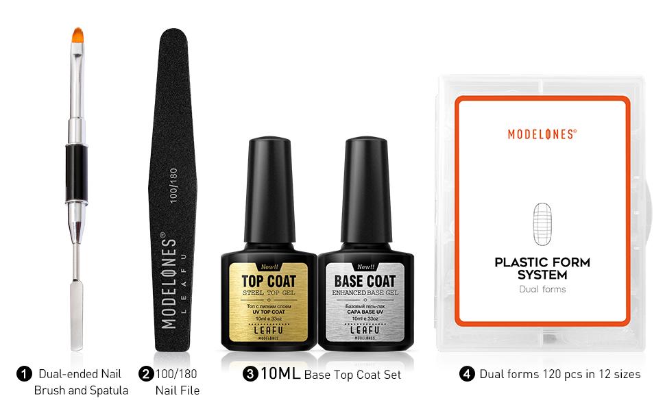 poly gel nail tools nail extension gel tools base top coat dual forms nail file brush