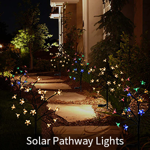 2 Pack Solar Garden Lights Outdoor Multi Color Cherry Blossoms