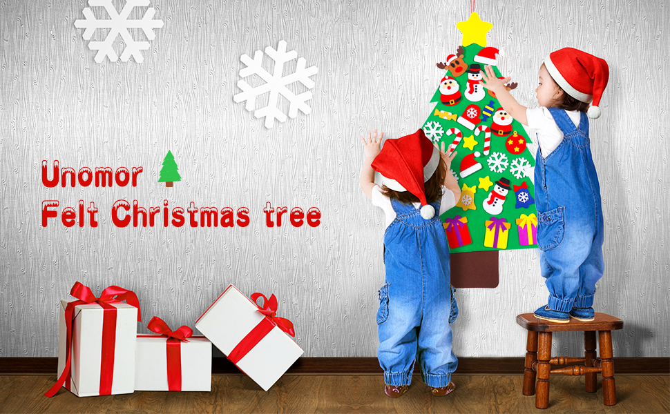 Amazon.com: Unomor Felt Christmas Tree Set with 31pcs Ornaments for ...