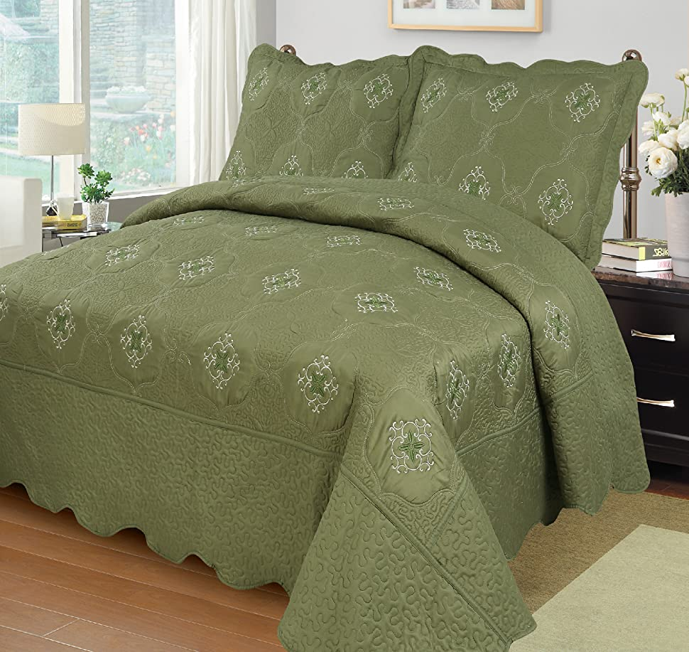 MarCielo 3-Piece Fully Quilted Embroidery Quilts Bedspreads Bed Coverlets Cover Set, Olive Green