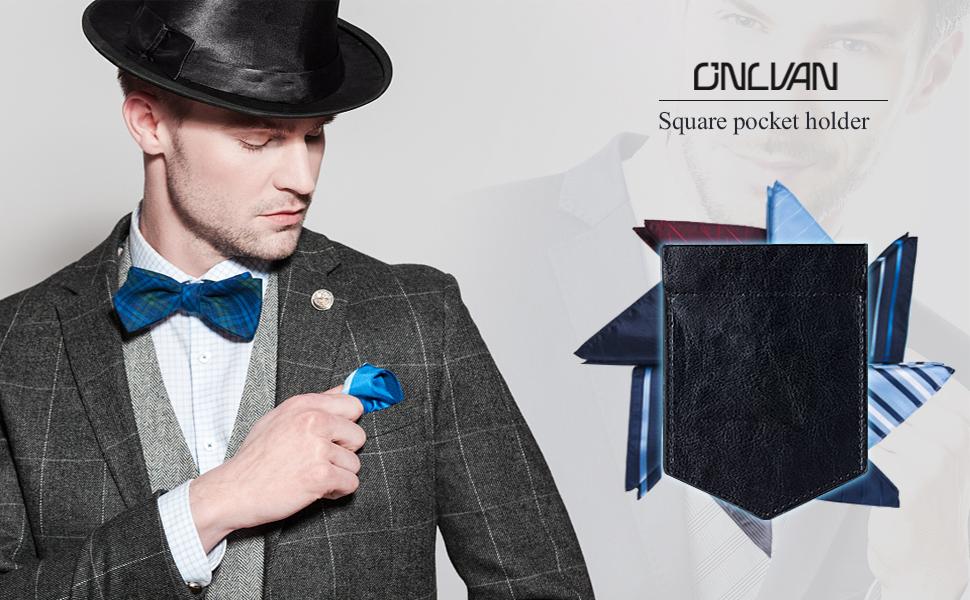 Amazon.com: ONLVAN - Soporte cuadrado de bolsillo de piel ...