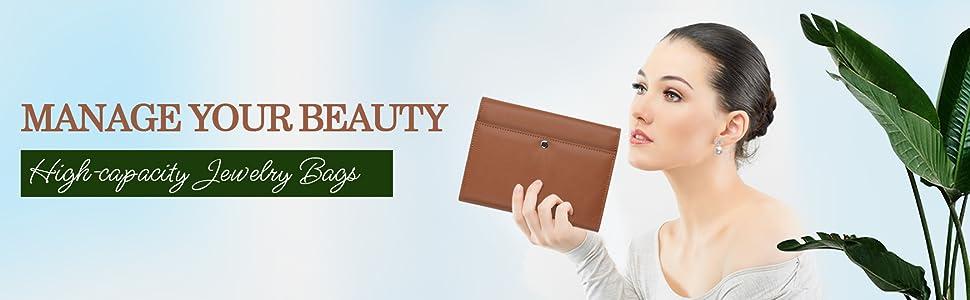 ONLVAN PU Leather Travel Jewelry Case Jewelry Organizer WEIYISS.inc Triple 8.26×6.29×1.18, Black