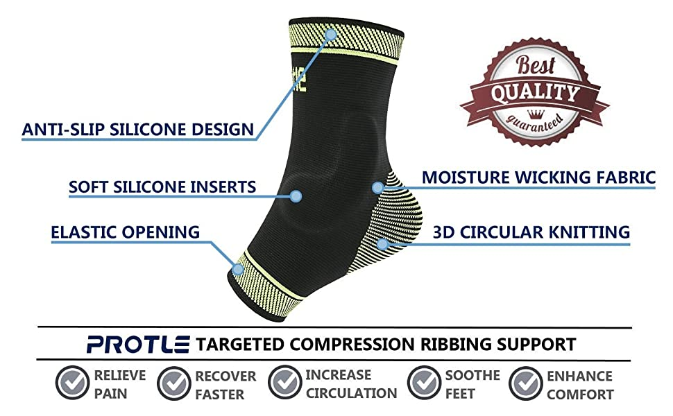 77249e69f101f Protle Foot Socks Ankle Brace Compression Support Sleeve with ...