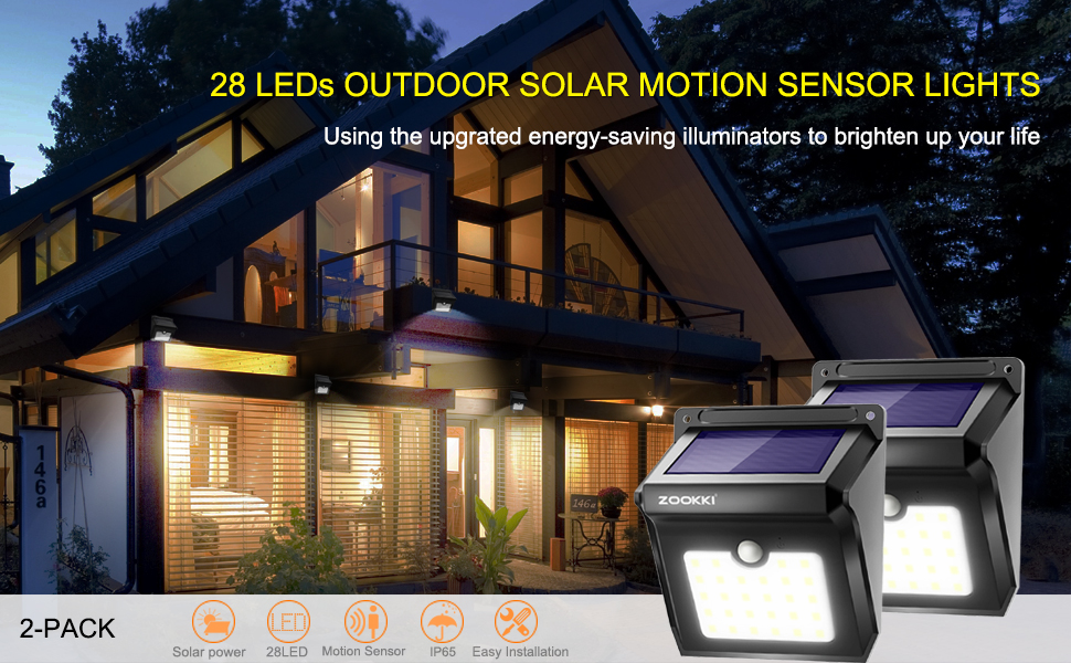 Amazon Com Solar 28 Led Motion Sensor Lights Outdoor