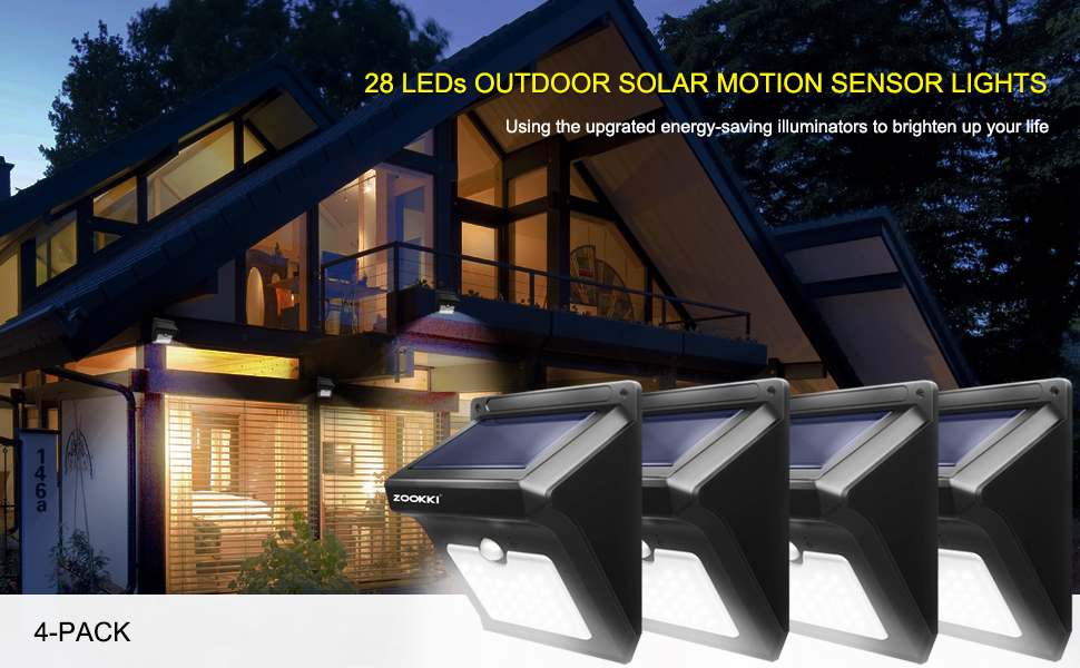 superb exterior house lights 4. ZOOKKI 28LED SUPER BRIGHT OUTDOOR SOLAR MOTION LIGHTS 4-PACK ☀ Superb Exterior House Lights 4 L