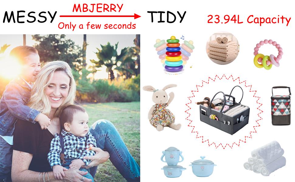 16L x 11.6W x 7.7 H Nursery Diaper Basket Car Travel Organizer Baby Shower Gift Baby Kids Diaper Caddy Organizer